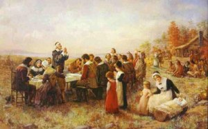 Traditions that became Holidays... Pilgrims to the New World had their Harvest Feast with immense grattitude. Thanksgiving traces it's roots to Plymouth MA in 1621.